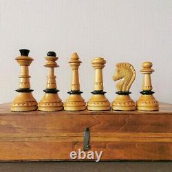Soviet folk art hand carved chess set Wooden russian vintage USSR antique