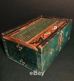 Super Pa Folk Art Painted Wood Sliding LID Candle Box, D. 1830, Teal Blue, Excellent