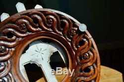 Superb Antique Carved Oak Picture Frame Arts & Crafts Nouveau Folk Art Guilloche