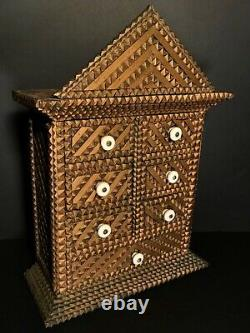 Tramp Art 7 Drawer Spice Cabinet With Spectacular Classical Pediment, Excellent