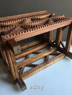 Tramp Art Table Vintage primitive Folk Art Wood Carved Frame Box