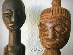 Two Antique African Tribal Art carved fetish figures Songye Kelebwe tribe