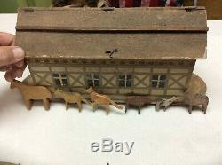 VINTAGE Antique Folk Art Noah's Ark Toy Noah Hand Carved Wooden Animals