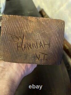 VINTAGE Folk Art Hand CARVED WOOD CIGAR STORE INDIAN STATUE SIGNED HANNAH VT