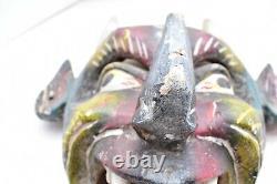 VTG Mexican Folk Art Carved Wood Mask DIABLO Oaxaca México Day of the dead DEVIL