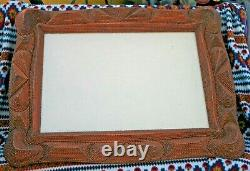 Very Large Intricate Tramp Art Hand Carved Picture Frame 32 x 21 WOW Lower $