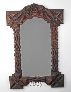 Very Large Tramp art highly carved mirror or frame