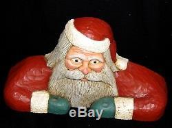 Vintage 1986 Jack Hughes Folk Art Carving Christmas Santa Candle Holder Signed