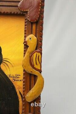 Vintage BARBARA STRAWSER Signed PA Folk Art Painting Black Cat Carved Wood Frame