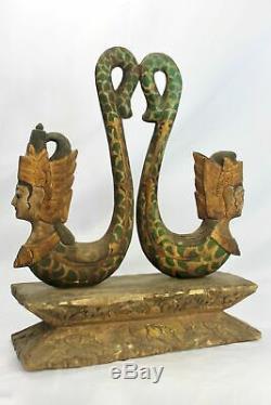 Vintage Balinese Rama Sita Mermaid Hand Carved Wood Statue Bali Folk Art OOAK