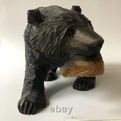Vintage Bear Japanese Ainu Hand Carved Wood Folk Art Salmon Fish Sculpture 10