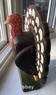 Vintage Beaver Creek Beaman, Iowa Hand Crafted Folk Art Style Wooden Turkey