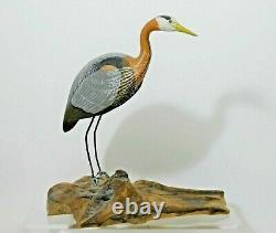 Vintage Blue Heron Shorebird Decoy Statue Carved Bucksport, Maine singed Wasson