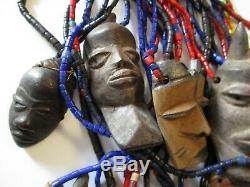 Vintage Bone Carvings African Africa Folk Art Tribal Mask Sculpture Face Head