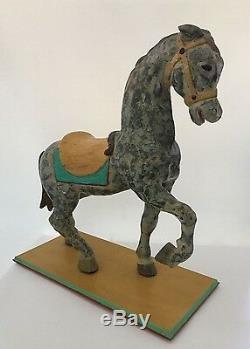 Vintage Carved Wood Carousel Horse Stander Mounted Full Size Folk Art