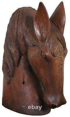 Vintage Carved Wood Folk Art Horse Head Bust Art Sculpture Equestrian Artisan