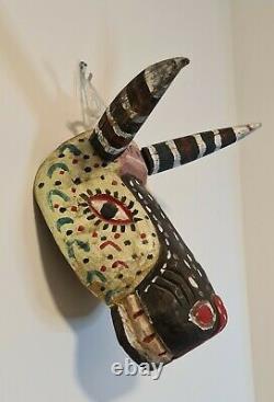 Vintage Carved Wood Mask Guatemala Animal Folk Art Horn