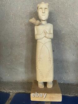 Vintage Cordova, NM Carving St Francis Santo Jose Mondragon Folk Art New Mexico