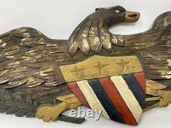 Vintage Dick Steele Carved Wood Eagle Wall Hanging Wooden Patriotic Folk Art