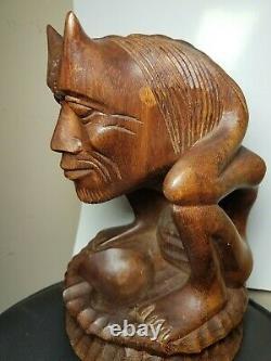 Vintage Folk Art Devil Demon Primitive Sculpture Figure Tribal 11 Wood Carved