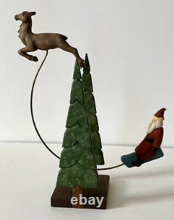Vintage Folk Art Wood Carving Santa & Reindeer. Signed Jane Harris 1991. N. C