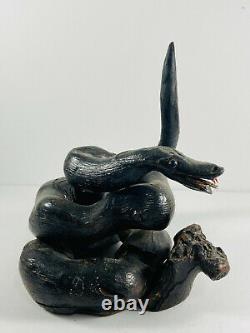 Vintage Folk Art Wood Wooden Carved Snake Cobra driftwood KANSAS