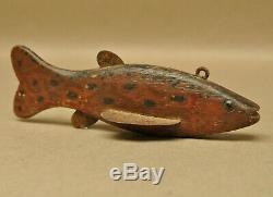 Vintage Fond du Lac WI Native American Hand Carved Fish Spearing Decoy Folk Art