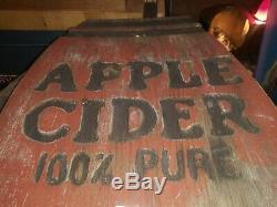 Vintage Hand Carved And Painted Sign APPLE CIDER 100% PURE 18×11 Folk Art