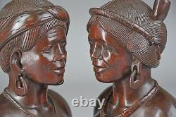 Vintage Hand Carved Ebony Wood Tribal SHAMAN & SHAMANESS Busts FOLK ART EUC