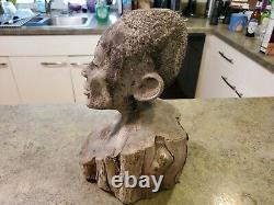 Vintage Hand Carved Folk Art Detailed Man Head Bust Wood Tree 12 Tall 13.5 lbs