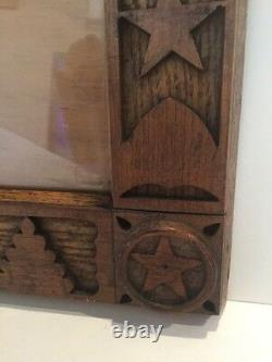 Vintage Hand Carved Folk Art Wood Picture Frame 8 x 10 Stars Shields Cannons