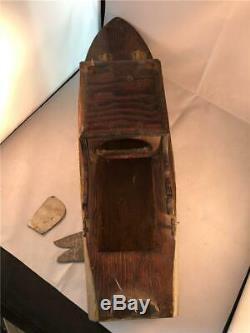 Vintage Hand made Hand Carved Wooden Folk Art Toy Boat Cabin Cruiser Ship