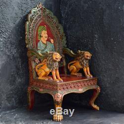 Vintage Indian Hand Carved Oversized Folk-Art Throne
