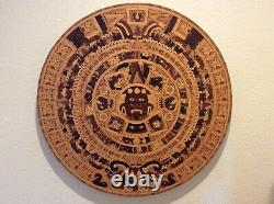 Vintage Large Hand Carved Wood Aztec Calendar Table Top or Wall Art Mexico 33