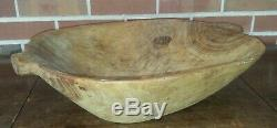 Vintage Large Wooden Dough Bowl Americana Carved Primitive Folk Art Bread Trough