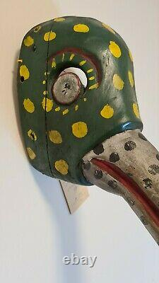 Vintage Mexican Festival Dance Mask Wood Carved Folk Art RARE Foreign Traders