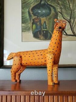 Vintage Mexican Folk Art ALEBRIJE wood carving JAGUAR Oaxacan Signed Santiago