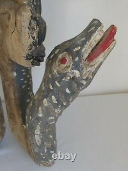 Vintage Mexican Folk Art Carved Wood Mask Woman with Snakes from Guerrero 1970's