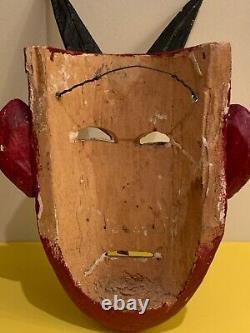 Vintage Mexican Folk Art Devil Red Wooden Carved Mask