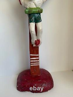 Vintage Mexican Folk Art Primitive 25 Tall Wood Carved Crucifix, Jesus, Cross