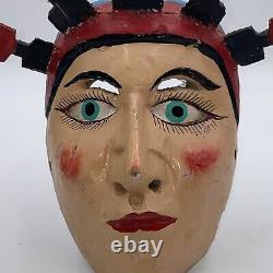 Vintage Mexican Folk Art Woman with Candle Headress Wooden Carved Mask