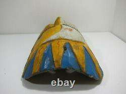 Vintage Mexican Mask Carved Wood Sun Moon Yellow Teal Folk Art