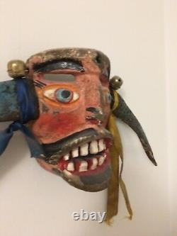 Vintage Mexican or Guatemalan Festival Mask Wood Carved Folk Art RARE