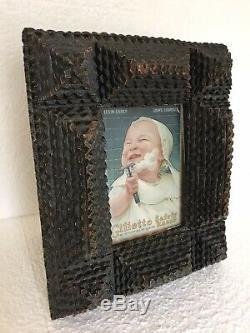 Vintage Primitive Carved Folk TRAMP Art Layered Wood Picture Frame