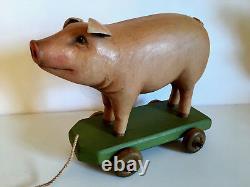 Vintage Primitive Folk Art Pig On Wheels. Hand Carved. Crate Prospects