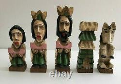 Vintage Santo Hand Carved & Hand Painted Colonial Style Chess Set Folk Art