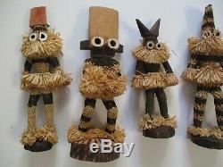 Vintage Wood Carvings African Africa Folk Art Tribal Mask Sculpture Face Doll