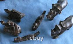 Vintage Wooden Folk Art Hand Carved Noah's Ark Boat Animals Figurines Set