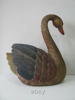 Vintage folk art large hand carved & painted goose