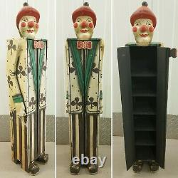 Vintique Circus Carnival Folk Art Wood Hand Carved Clown Tall Cabinet Cupboard
